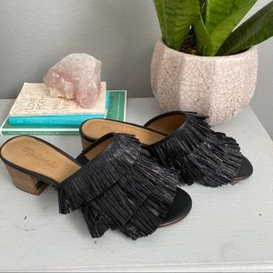 Madewell Shoes - EUC Madewell fringe mule in black